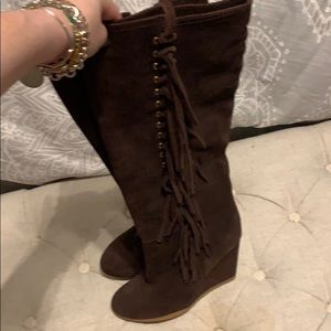 Coach Suede fringe boots NWOT